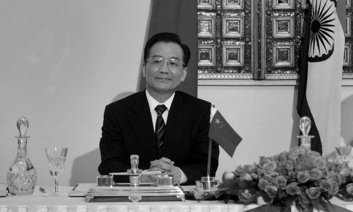 Chinese Premier Wen Jiabao looks on during his talks with Indian Prime Minister Manmohan Singh, unseen, in New Delhi, India, Monday, April 11, 2005. (AP Photo/Manish Swarup)
