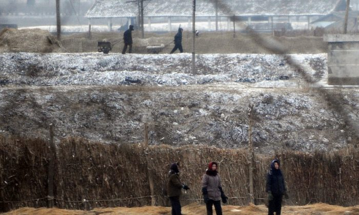 North Korean farmers work in their fields outside the capital Pyongyang in 2008. (Mark Ralston/Getty Images)