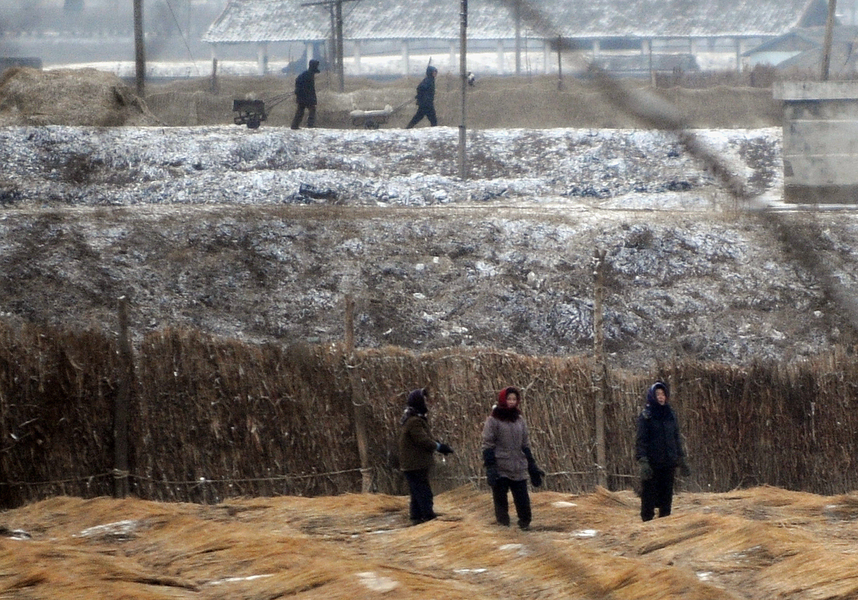 North Korean farmers work in their fields outside the capital Pyongyang in 2008. A famine in the mid-1990s killed up to 1 million North Koreans. Today, aid agencies warn that the country, ruled by one of the world's most repressive regimes, is on the verge of another dire food crisis. (Mark Ralston/Getty Images)