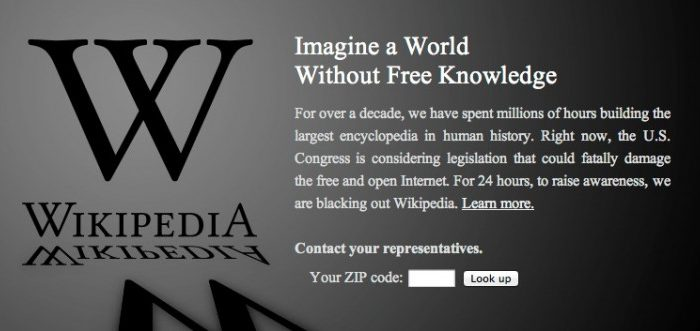 Screenshot from Wikipedia.org on Jan. 18, 2012. Mozilla, WordPress, MoveOn, and TwitPic are joining Wikipedia and Reddit, as well as other sites, in joining the protest against controversial antipiracy legislation.