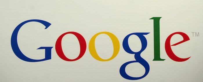 A picture of Google logo during a press announcement at Google headquarters in New York, May 21, 2012. (Emmanuel Dunand/AFP/GettyImages)