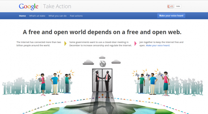 Google's Take Action website asks netizens to act against upcoming UN/ITU proposals for the Internet backed by China and Russia, which would allow governments to control the Internet within their borders. (Screenshot: Epoch Times)