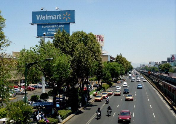 View of a facade of Walmart supermarket in Mexico City, on April 26, 2012. (Yuri Cortez/AFP/GettyImages)