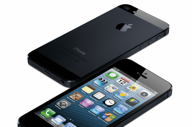 The iPhone 5 is shown in a press image from Apple. New technology will let users open designated locks using their smartphone. (Courtesy of Apple)