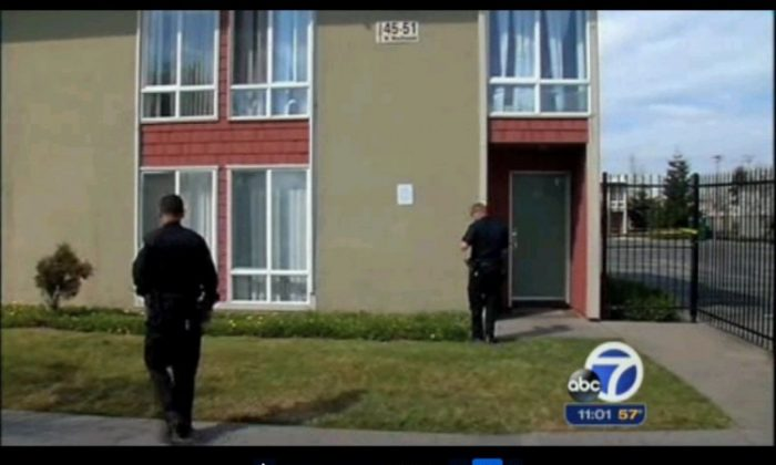 A screenshot of an ABC video shows the apartment where the boy lived in Richmond, Calif. (Screenshot via The Epoch Times)