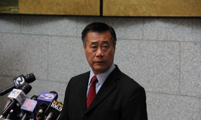 California State Senator Leland Yee speaks at a press conference on a death threat made against him, at the Hiram Johnson State Building in San Francisco on Feb. 14, 2013. (Christian Watjen/The Epoch Times)