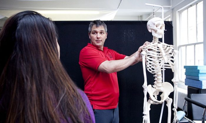 The knee bone's connected to the thigh bone... A basic anatomy lesson with Brant Amundson. (Samira Bouau/The Epoch Times)
