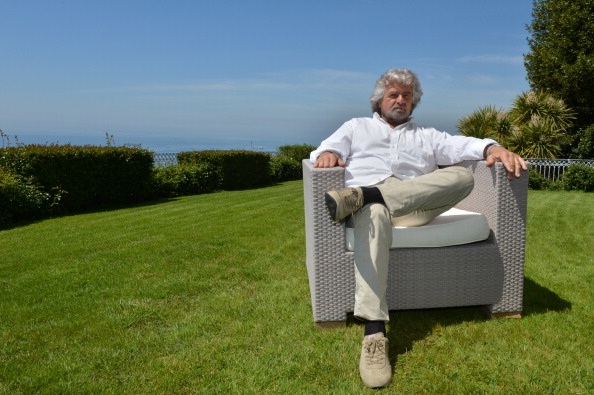 Italian politician Beppe Grillo poses during an interview at his home in Genoa in 2012. His 5 Star movement shook up the February Italian elections and Grillo said in a March 13 interview he wants democracy to return to Italy. (Giuseppe Cacace/AFP/GettyImages)