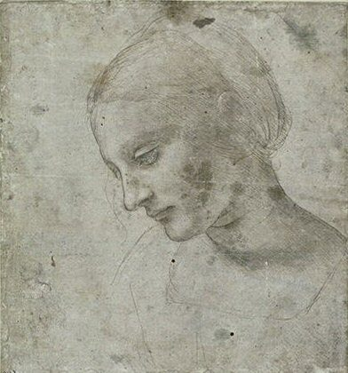 """A metalpoint drawing by Leonardo da Vinci believed to have been referenced in the creation of """"Madonna Litta."""" 7 inches by 6.6 inches. (Public Domain)"""