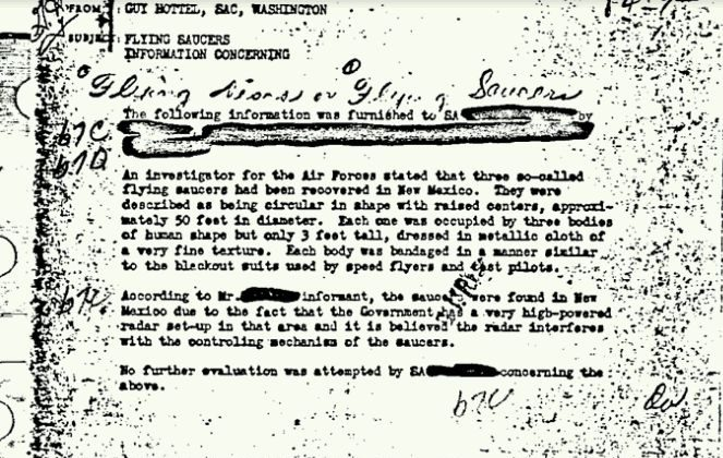 "The ""FLYING SAUCERS"" FBI note from 1950. (Screenshot via The Epoch Times)"