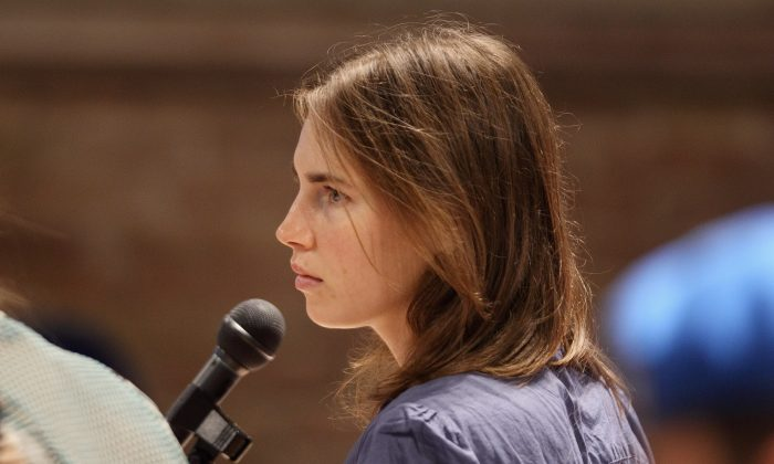 Amanda Knox attends her appeal hearing at Perugia's Court of Appeal on September 30, 2011 in Perugia, Italy. (Oli Scarff/Getty Images)