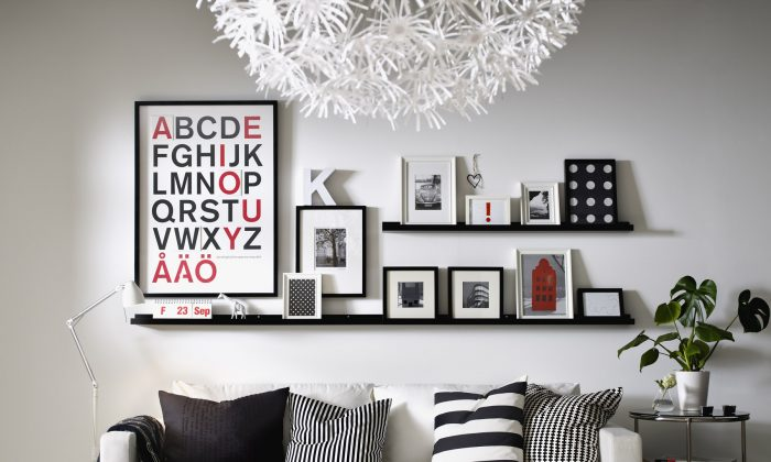 Frame scrapbook paper, wallpaper, lettering, or fabric for a look that is both chic and unique. (Courtesy of Ikea)
