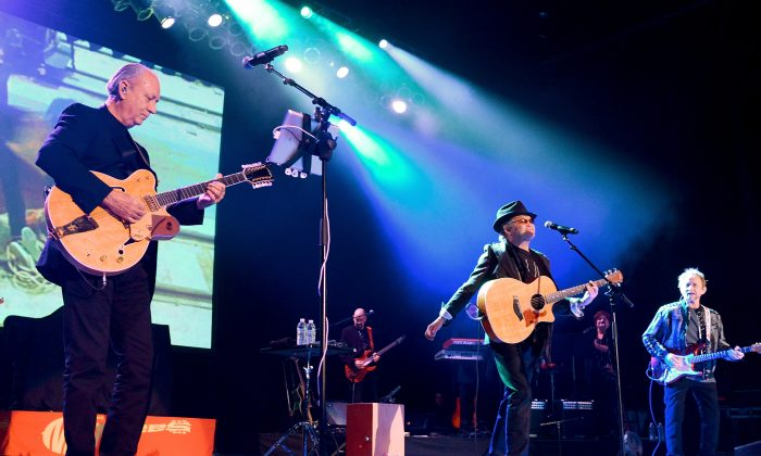 (L-R) Michael Nesmith, Micky Dolenz and Peter Tork of The Monkees perform at The Greek Theatre on November 10, 2012 in Los Angeles, California. (Noel Vasquez/Getty Images)