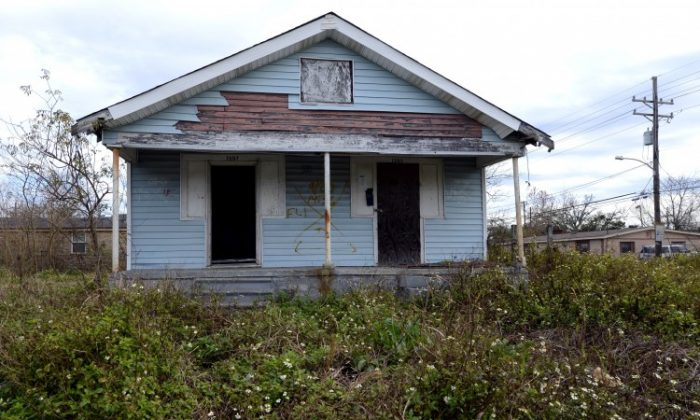 A vacant home in the Lower Ninth Ward of New Orleans February 5, 2013. (TIMOTHY A. CLARY/AFP/Getty Images)