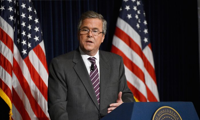 Former Florida Governor Jeb Bush speaks at the Reagan Library after autographing his new book 'Immigration Wars: Forging an American Solution' on March 8, 2013 in Simi Valley, California. (Kevork Djansezian/Getty Images)