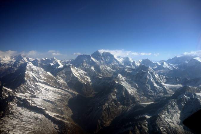 This photograph taken from an aircraft shows an aerial view of Mount Everest (C) and The Himalayan mountain range. (Prakash MathemaAFP/Getty Images)