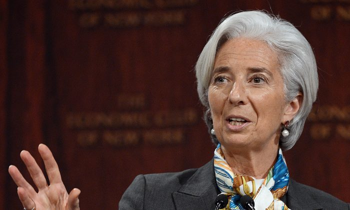 IMF Managing Director Christine Lagarde speaks on Global Policy Actions to get Ahead of the Curve in front of the Economic Club of New York, in New York, April 10. (Emmanuel Dunand/AFP/Getty Images)
