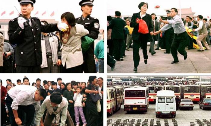 Chinese police Violently arrest Falun Gong practitioners in Tiananmen Square during a peaceful protest from 2000-2001. (Minghui.org)
