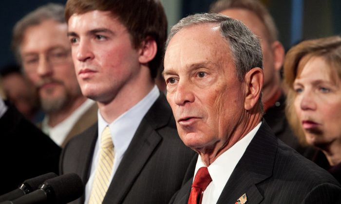 New York City Mayor Michael Bloomberg speaks at a news conference with family members of gun violence victims and survivors of gun violence to demand a plan to reduce gun violence at City Hall on Dec. 17, 2012. (Samira Bouaou/The Epoch Times)