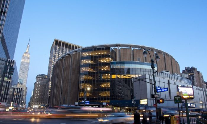 Madison Square Garden from 8th Ave. and 33rd St., April 3. (Samira Bouaou/The Epoch Times)