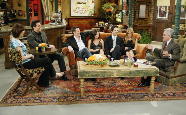 "In this handout photo provided by NBC, the cast of Friends, actors Lisa Kudrow, Matt LeBlanc, Matthew Perry, Courteney Cox-Arquette, David Schwimmer and Jennifer Aniston sat down with Jay Leno for a special ""Tonight Show,"" on the set of Central Perk on May 6, 2004. (Paul Drinkwater/NBC via Getty Images)"