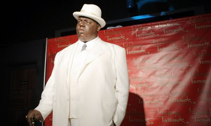 A wax figure of Christopher 'Biggie Smalls' Wallace on display at its debut at Madame Tussauds in Times Square on Oct. 25, 2007 in New York City. (Scott Gries/Getty Images)