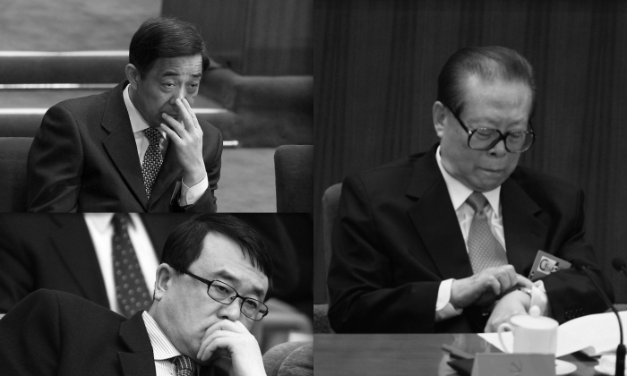 (Clockwise)Bo Xilai, Jiang Zemin, Wang Lijun. (Feng Li/Getty Images)