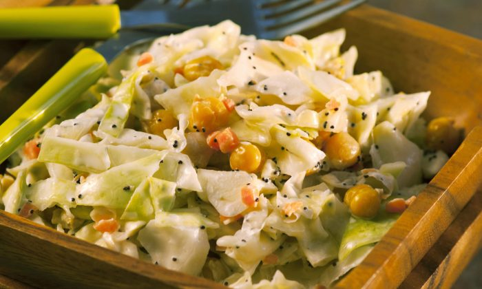 Coleslaw with garbanzo beans, poppy seeds, and lemon juice (Cat Rooney/The Epoch Times)