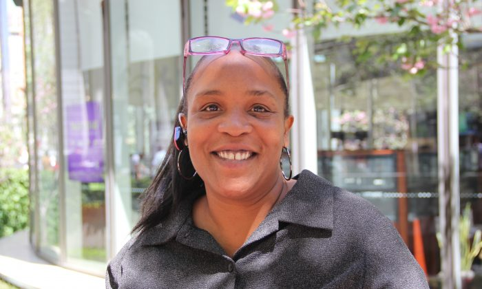 """Danielle Taylor, 42, administrative assistant, Bayview: """"I think that certain parts of Market Street have a lot of traffic that doesn't look too savvy—looks like a lot of illegal stuff going on further down. So I think that would be a very good idea, to make sure everyone is safe."""" (The Epoch Times)"""