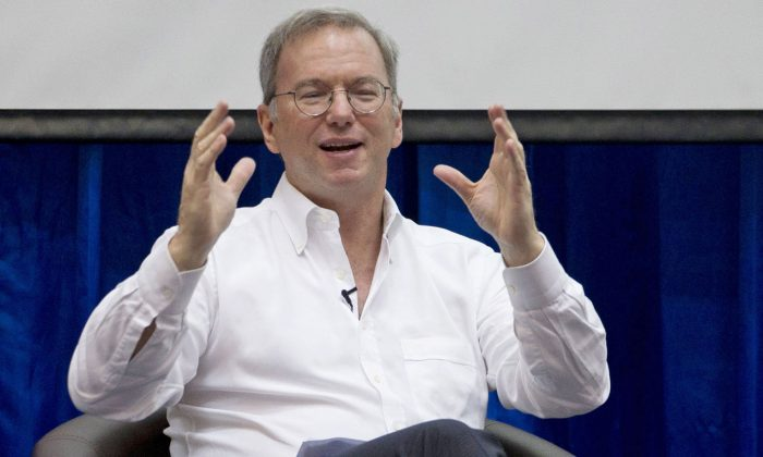 Former Google Executive Chairman Eric Schmidt and the current Chairman of NSCAI in a file photo. (AP Photo/Gemunu Amarasinghe)