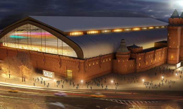 A rendering of the outside of Kingsbridge National Ice Center at night in the Bronx. (photo courtesy the Mayor's Office)
