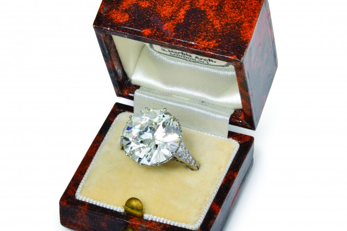 A very fine Edwardian diamond ring by Shreve, Crump & Low, with a center stone of approximately 9cts. Circa 1910.