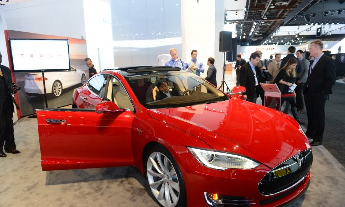 The Tesla Model S is introduced at the 2013 North American International Auto Show in Detroit, Michigan, January 15, 2013.(Stan Honda/AFP/Getty Images)