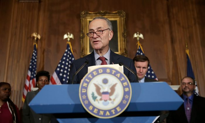 United States Senator Charles Schumer speaks at a pres conference in Washington, DC on April 11, 2013. (Win McNamee/Getty Images)
