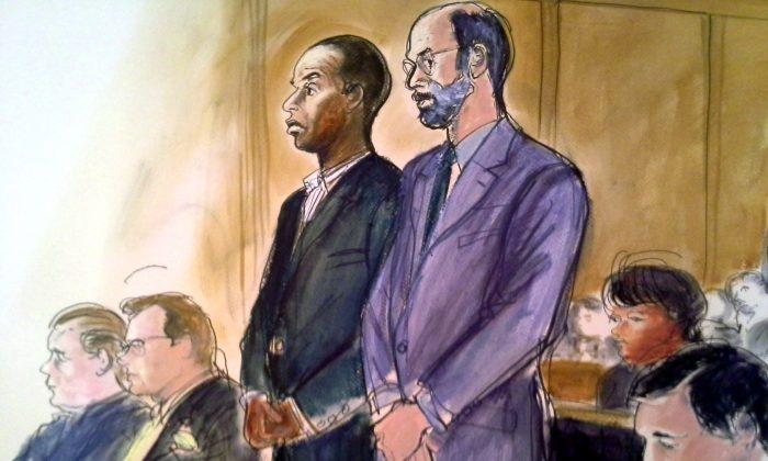 In this courtroom sketch, state Sen. Malcolm Smith, (D-Queens), center left, stands in federal court next to his attorney Gerald Shargel in White Plains, N.Y., April 2. Clockwise from left are Bronx County Republican Party Chairman Joseph Savino; his attorney Kevin B. Faga; Smith; Shargel; Spring Valley Mayor Noramie Jasmin, and Assistant U.S. Attorney Douglas Bloom. (AP Photo/Elizabeth Williams)