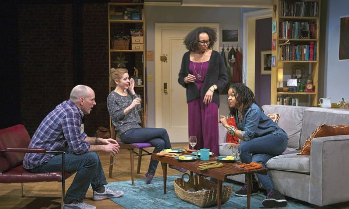 """(L-R) Kelly AuCoin, Kerry Butler, Eisa Davis, and Crystal A. Dickinson appear as friends in Tanya Barfield's new play """"The Call."""" (Jeremy Daniel)"""