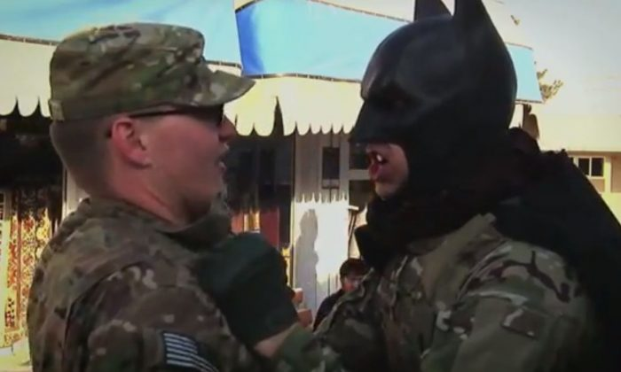 "A screenshot of the ""Bagram Batman"" videos"