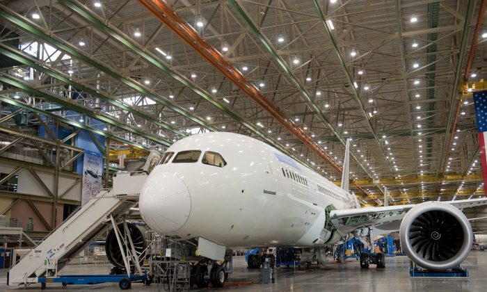 A Boeing 787 Dreamliner aircraft sits under construction at the Boeing production facilities and factory at Paine Field in Everett, Washington, in this file photo. Due to technical problems, the airplane was grounded since January 2013. (Saul Loeb/AFP/Getty Images)