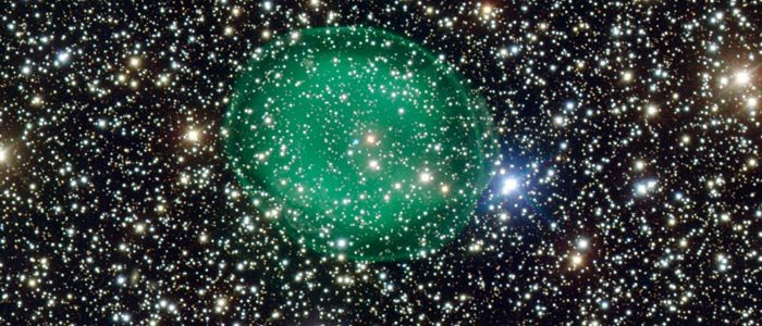This pale green bubble is the most detailed picture yet taken of the planetary nebula IC 1295. (ESO)