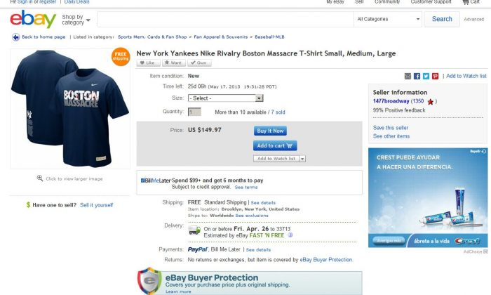 A screenshot shows the eBay page of the 'Boston Massacre' T-shirts in question.