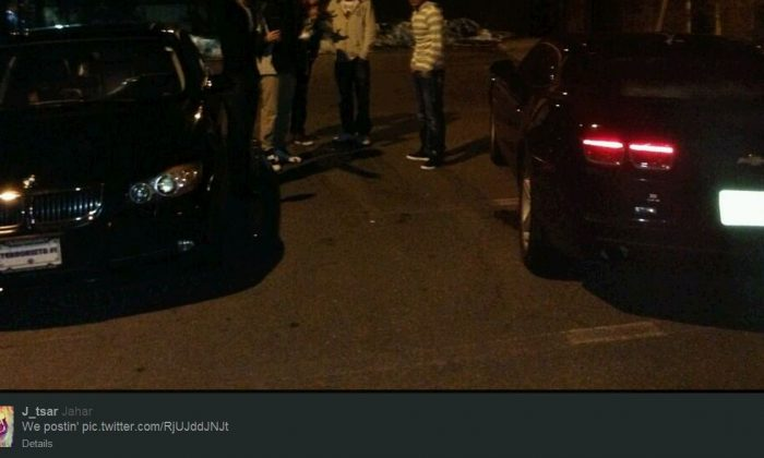 """A screenshot shows the BMW with the """"Terrorista #1"""" license plate as tweeted out by Dzhokhar Tsarnaev in March."""