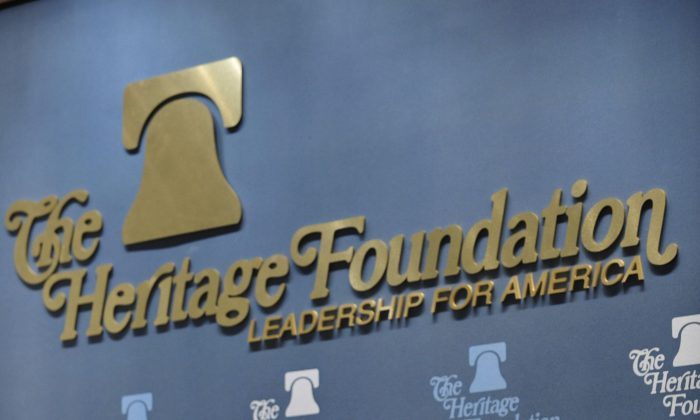 The Heritage Foundation logo is pictured at a discussion in Washington in this file photo. (Mandel Ngan/AFP/Getty Images)