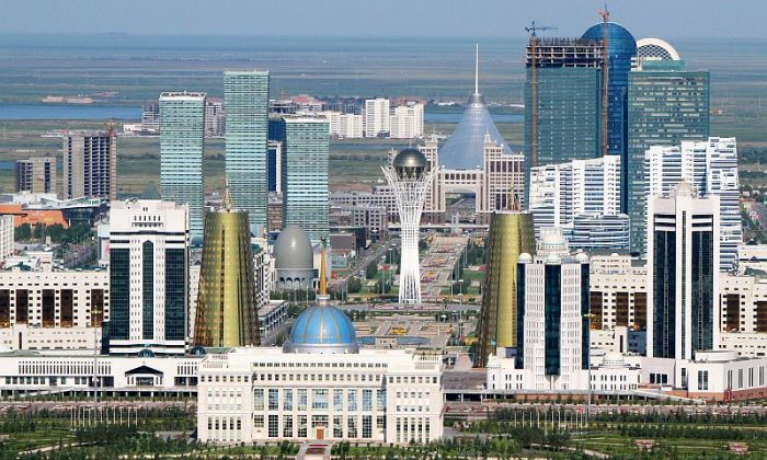 An aerial view of the city of Astana, taken on July 28, 2011. (Stanislav Filippov/AFP /Getty Images)