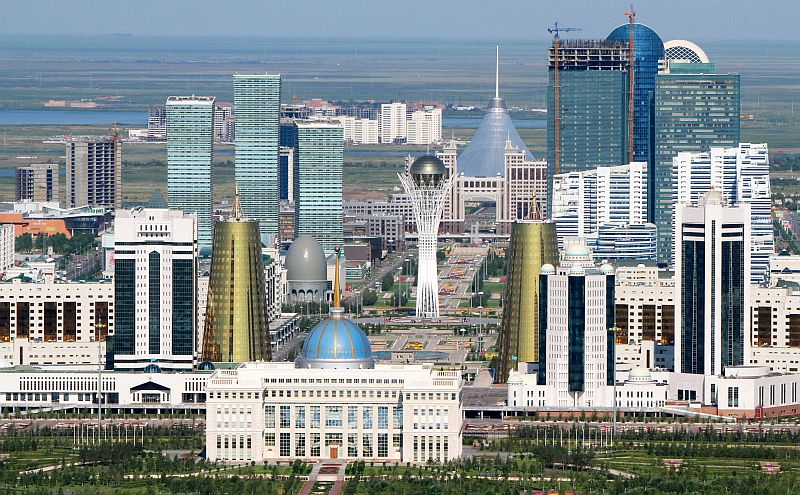 An aerial view of the city of Astana, taken on July 28, 2011. Danny Schechter attended the Eurasian Media Forum there and found this country with limited media freedom hosted a discussion of surprising diversity. (STANISLAV FILIPPOV/AFP/Getty Images)