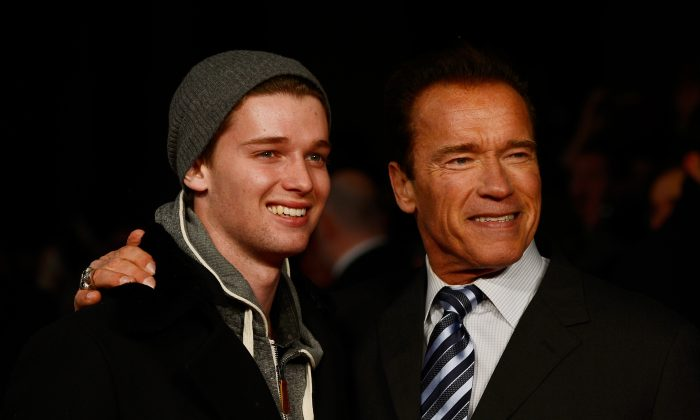 Actor Arnold Schwarzenegger (R) and Patrick Schwarzenegger attend the European Premiere of 'The Last Stand' at Odeon West End on January 22, 2013 in London, England. (Gareth Cattermole/Getty Images)
