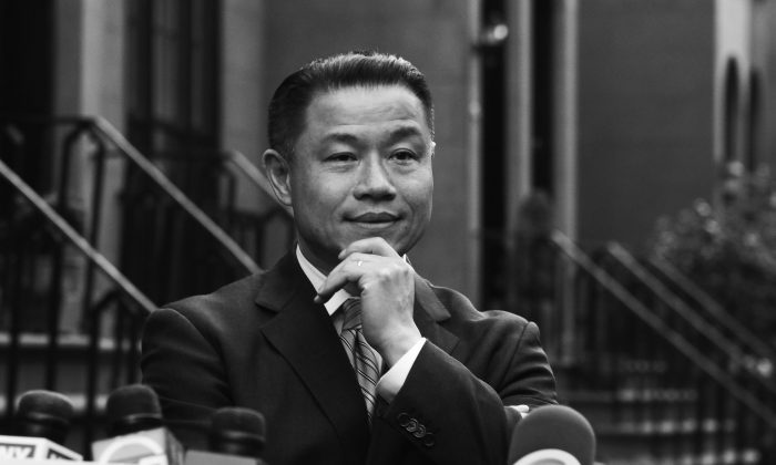 New York City Comptroller John Liu at a press conference in Brooklyn, May 2, after two of his aides were found guilty of attempted wire fraud. (Samira Bouaou/Epoch Times)