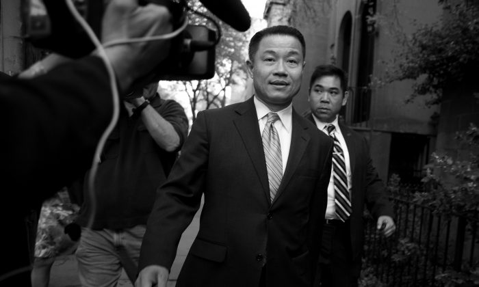 New York City Comptroller John Liu leaving a press conference in Brooklyn May 2 after two of his aides were found guilty of attempted wire fraud in conjunction with his comptroller campaign from 2009–2011. Liu is also a NYC mayoral candidate. (Samira Bouaou/Epoch Times)