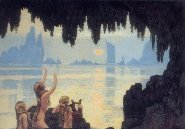"""Mermaids,"" painted by Jean Francis Auburtin in 1920. (Public domain/Wikimedia Commons)"