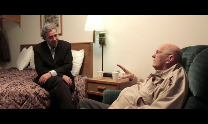 An anonymous CIA official (R) speaks with UFO researcher Richard Dolan in an anonymous location. It was the first time the official disclosed his knowledge of extraterrestrials.