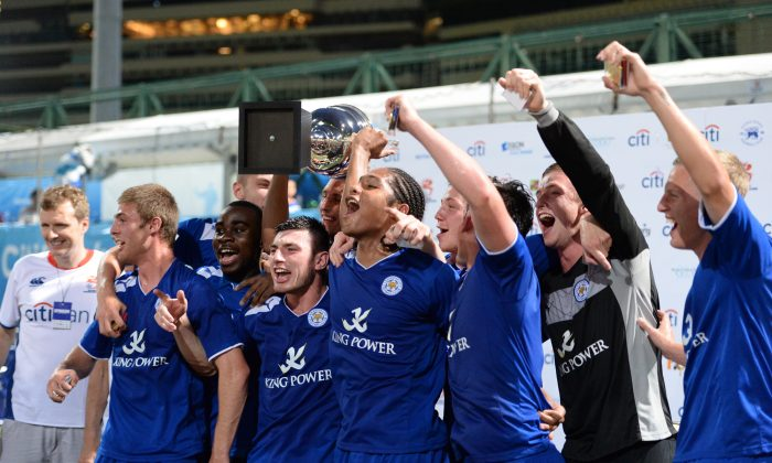 Leicester City celebrates winning the HKFC Citibank International Soccer Sevens Cup Final against Newcastle 2-0 on May 26. (Bill Cox/The Epoch Times)